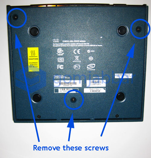 Location of screws on the bottom of Cisco ASA 5505