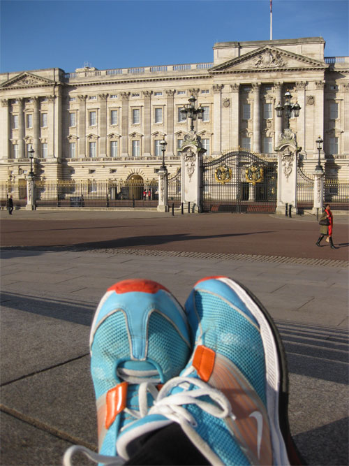 My el cheapo Nike shoes at Buckingham Palace after a year of running.