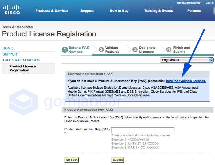 Cisco Product License Registration Page